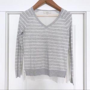 LOFT | Mixed Media V-Neck Striped Sweater
